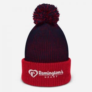 speckled pom pom beanie navy red front 6015edf59a1c4